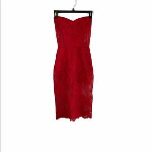 For Love and Lemon Red Lace Netted Corset Dress